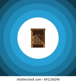 Isolated Western Wooden Flat Icon. Saloon Vector Element Can Be Used For Saloon, Wooden, Door Design Concept.