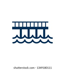 Isolated wharf icon symbol on clean background. Vector cityscape element in trendy style.