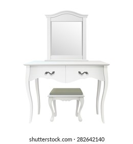 Isolated white antique bedroom vanity table set with stool and mirror
