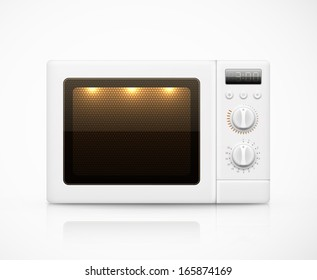 Isolated white microwave. Illustration contains transparency and blending effects, eps 10