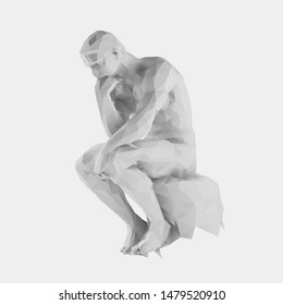 Isolated White Thinker Man on Light Background. Low Poly Vector 3D Rendering