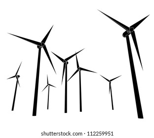 isolated wind energy power vector silhouettes vector illustration