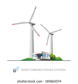 Isolated wind turbines power station icon with office building on white background