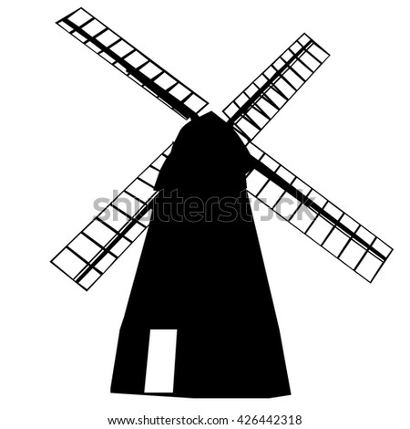 isolated windmill silhouette stock vector royalty free 426442318