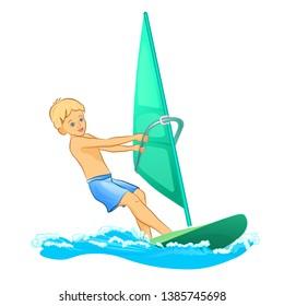 Isolated Windsurfer boy Windsurfing surface water sport vector illustration