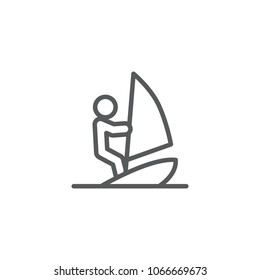 Isolated windsurfing icon line symbol on clean background. Vector surfer element in trendy style.