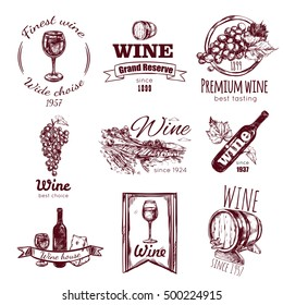 Isolated wine vintage badge set with finest wine wide choice premium wine wine house descriptions vector illustration