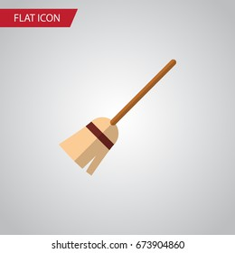 Isolated Witch Broomstick Flat Icon. Broom Vector Element Can Be Used For Witch, Broom, Broomstick Design Concept.