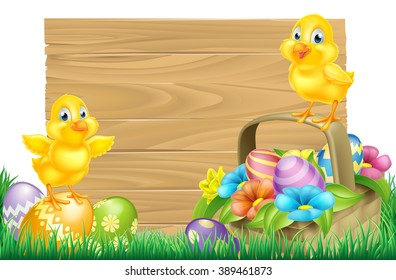 Isolated wooden cartoon Easter sign with Easter Chicks baby chicken birds, Easter Eggs, spring flowers and Easter basket in a field