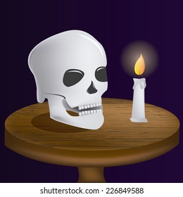an isolated wooden table with a skull and a candle with fire
