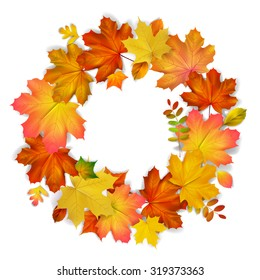 Isolated  wreath of autumn leaves, vector illustration