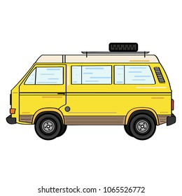 Isolated yellow camper van in flat style vector illustration.