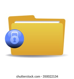Isolated yellow folder with blue sign with padlock. Locked folder concept