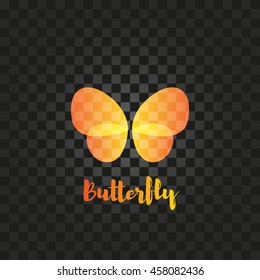 Isolated yellow and orange butterfly with writing vector logo. Flying insects logotype. Wild nature elements icon. Wings illustration.