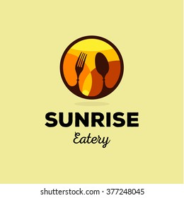 Isolated yellow and orange vector food service logo. Table setting icon. Fork and spoon image. Round logotype. Sunrise illustration. Eatery emblem. Restaurant sign. Cafe symbol. Delicious meals.