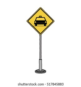 Isolated yellow road sign design