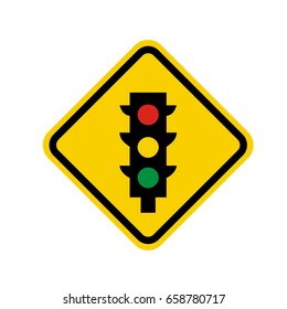 Isolated yellow transit signal with a traffic light icon