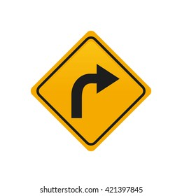 Isolated yellow transit signal with a turn right icon