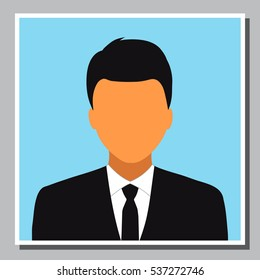 Isolated young business man icon on black suit. Portrait of seller, salesman, manager, accountant, executive, employee or entrepreneur person. Vector illustration.