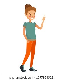 isolated young caucasian girl waving her hand, greeting and smiling. flat vector people illustration of a woman wearing green t-shirt and orange pants on a white background.