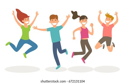Isolated young people jumping. Happiness and youth concept. Vector illustration.