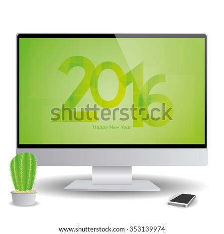 isolatedand computer screen with a new year screensaver