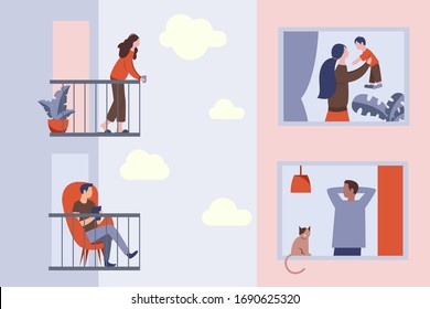 Isolation of people during the COVID-19 pandemic. Young guy and girl are standing on their balconies. In a neighboring building, the windows are a mother with a son. In another window, a guy with cat.