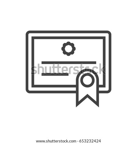 isolted certificate outline symbol on clean stock vector royalty