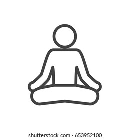 Isolted Meditate Outline Symbol On Clean Background. Vector Yoga Element In Trendy Style.