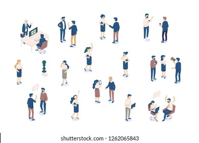 Isomeric business people Vector set isolated on white. Male and female characters. Flat isometric illustration.