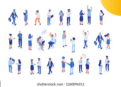 \t\nIsomeric office people big vector set. Office life. Flat vector characters isolated on white background.