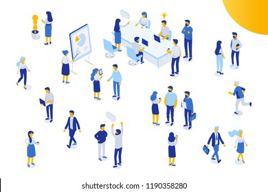 Isomeric office people vector set. Office life. Flat vector characters isolated on white background.