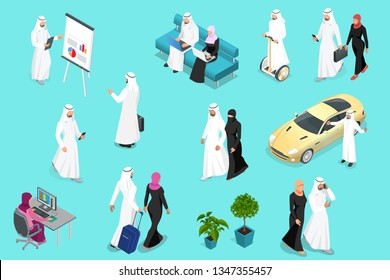 Isometirc Saudi Businessmens. Arab man and woman character set. Muslim businessman with gadgets isolated vector illustration.