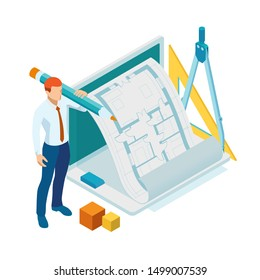 Isometri architect drawing on architectural project concept. Architects workplace - architectural project, blueprints, ruler, laptop and divider compass.