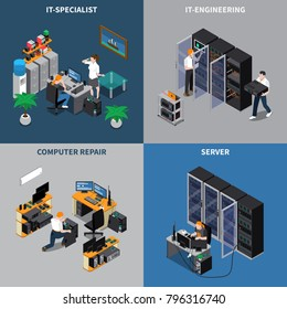 Isometric 2x2 icons set with information technology engineers and computer repair specialists 3d isolated vector illustration