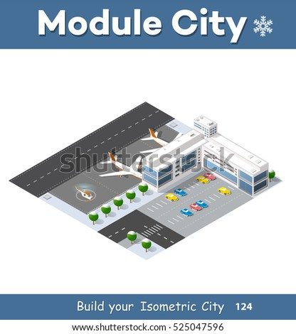 Isometric 3 D Airstrip City International Airport Stock Vector