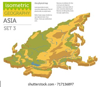 Isometric 3d Asia physical map constructor elements isolated on white. Build your own geography infographics collection. Vector illustration
