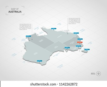 Isometric  3D Australia map. Stylized vector map illustration with cities, borders, capital Canberra , administrative divisions and pointer marks; gradient background with grid.