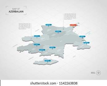 Isometric  3D Azerbaijan map. Stylized vector map illustration with cities, borders, capital Baku , administrative divisions and pointer marks; gradient background with grid.