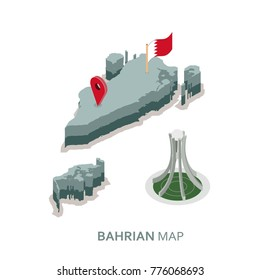 isometric 3d Bahrain map , flag and pearl monument vector