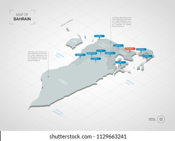 Isometric  3D Bahrain map. Stylized vector map illustration with cities, borders, capital Manama , administrative divisions and pointer marks; gradient background with grid. Editable layers clearly la