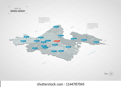 Isometric  3D Bangladesh map. Stylized vector map illustration with cities, borders, capital Dhaka , administrative divisions and pointer marks; gradient background with grid.