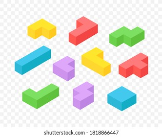 Isometric 3d blocks vector clipart isolated on transparent