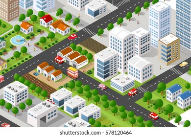 Isometric 3D building city  concept private, municipal real estate. Home collection hotel, gardens, architecture cityscape. Green tree buildings map Illustration elements set business vector game