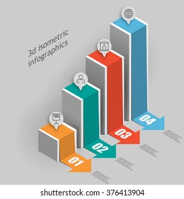 Isometric 3d business chart data columns template for presentation
