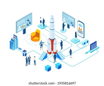 Isometric 3D business environment infographic. Business people work together next to rocket. Rocket is ready for start, technology, space technology, space industry, start up concept