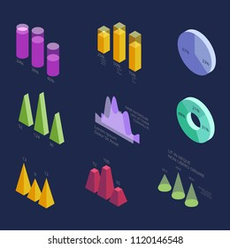 Isometric 3d business statistics data charts, percentage diagrams for modern presentation. Vector infographic elements isolated. Graph and infographics, diagram statistic column illustration