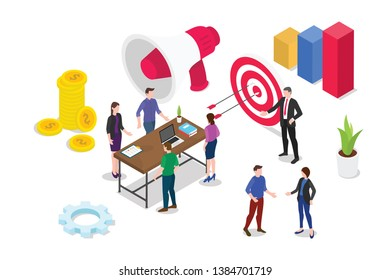 isometric 3d business strategy concept with team people working together debate and discuss with graph report - vector illustration