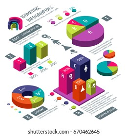 Isometric 3d business vector infographic with color diagrams and charts. Isometric colored infographic and diagram for information web illustration