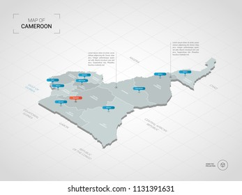 Isometric  3D Cameroon map. Stylized vector map illustration with cities, borders, capital Yaoundé , administrative divisions and pointer marks; gradient background with grid.